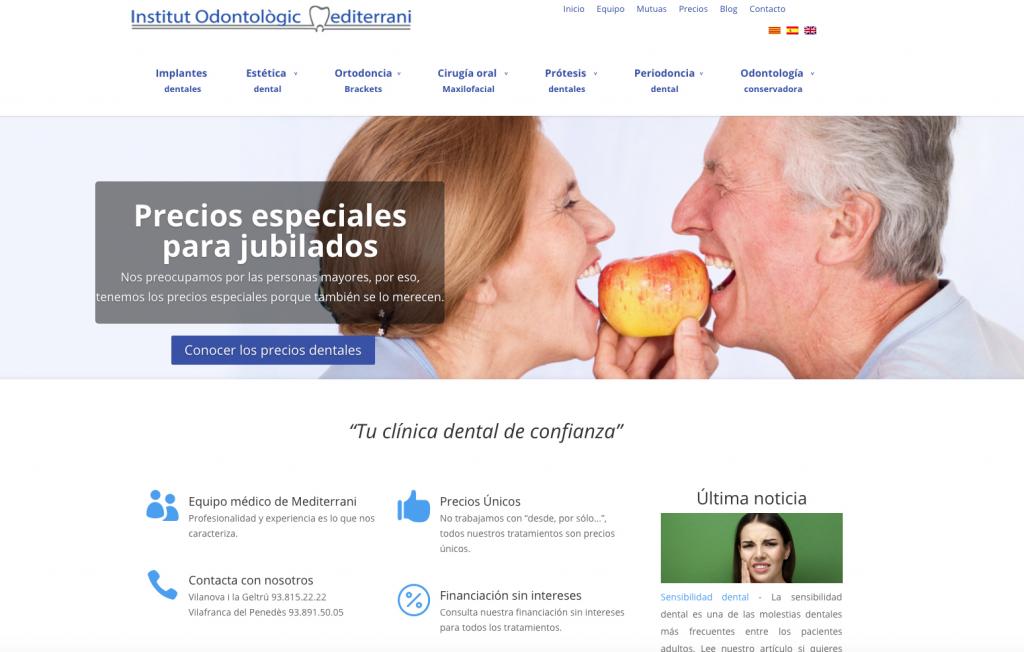 Web de la franquicia Instituto Odontológico Mediterráneo
